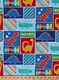 Cotton Dinosaurs Dino Reptile Children Boys Kids Jurassic Cotton Fabric Print by the Yard (5701d-8k-kidz-c9681-blue)