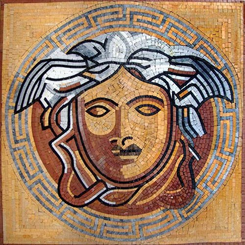Medusa Marble Mosaic Stone Floor Wall Art Tile, 24