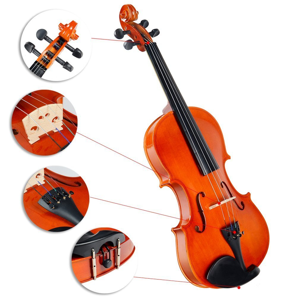 Amazon.com: Ohuhu 4/4 Solid Wood Satin Antique Violin with Hard Case,  Shoulder Rest, Bow, Rosin,Extra Strings: Musical Instruments