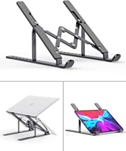 """Laptop Stand, Aenfor Portable Computer Laptop Mount Holder, Aluminum Laptop Riser with 7 Levels Height Adjustment, Compatible with MacBook Air Pro, Dell XPS, HP, Lenovo More 10-15.6"""" Laptops, Grey"""