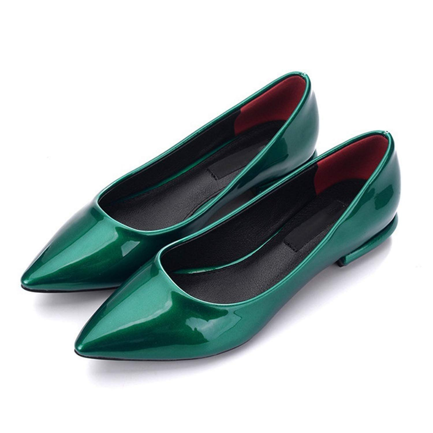 Michael Palmer Ladies Specular Patent Leather Flats Candy Colors Pointed Toe Shoes Green Grey Plus Size Footwear Dressing