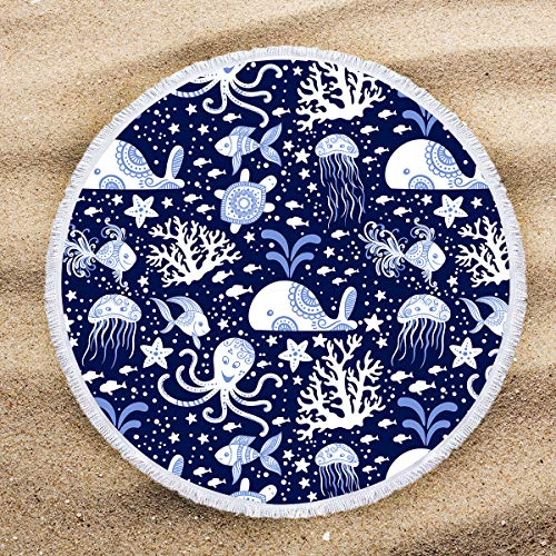 ARIGHTEX Sea Creatures Beach Towel Beach Roundie Nautical Mandala Print Large Thick Terry Cloth Round Blanket with Tassels 60