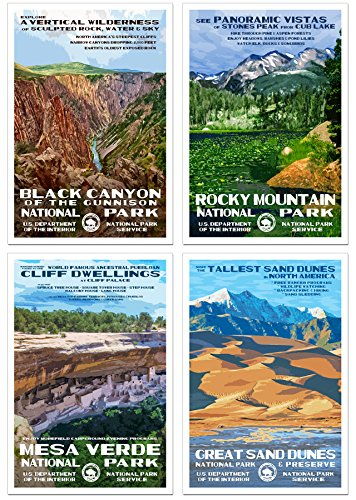 Colorado National Park Posters - 4 Pack - Original Artwork