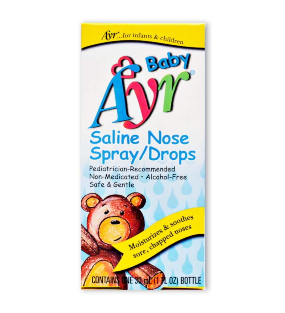 Baby Ayr Saline Nose Spray/Drops, 1-Ounce Spray Bottles (Pack of 6) by AYR