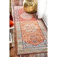 Traditional Floral Oriental Border Orange Runner Rug (26 x 8) Machine-Made