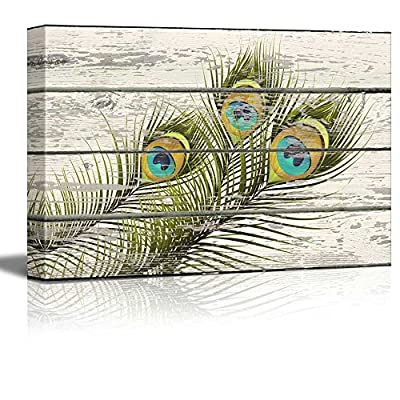 Fascinating Piece, Created Just For You, Colorful Peacock Feathers Artwork Rustic