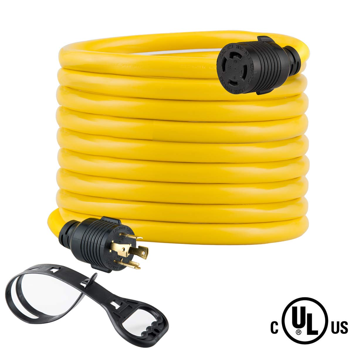 25FT Heavy Duty Generator Locking Power Cord NEMA L14-30P/L14-30R,4X10 Gauge SJTW Cable, 125/250V 30Amp 7500 Watts Yellow Generator Lock Extension Cord with UL Listed Yodotek by Yodotek