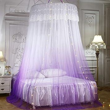 Princesa Cortina ni/ños Malla Dosel Azul Ropa de Cama para la habitaci/ón de Las ni/ñas Meiyya Cama con mosquitero Elegante Encaje