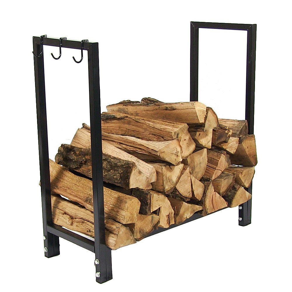 Sunnydaze Indoor Outdoor Firewood Log Rack Holder, Fireplace Wood Storage Stand, 30 Inch, Black