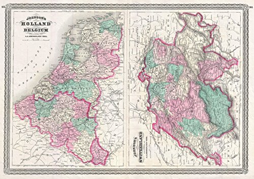 on Map of Holland, Belgium, and Switzerland, 1870 | Historical Antique Vintage Decor Poster Wall Art | 16in x 24in ()