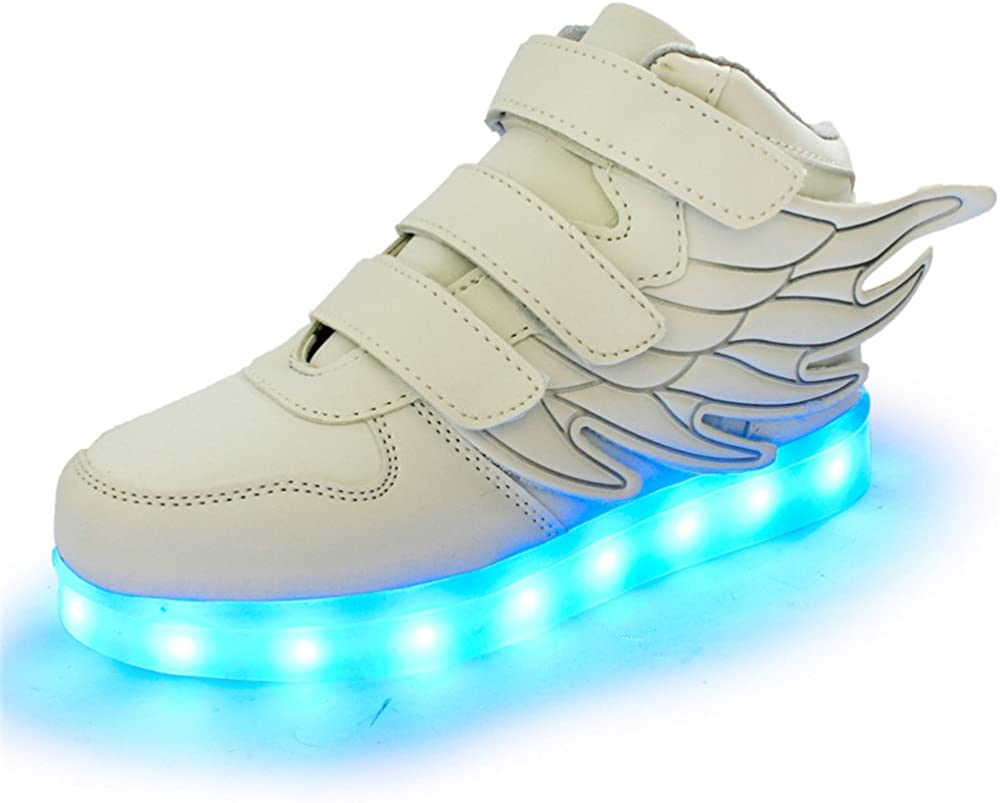 HarlanLi Have Wings Led Light up Shoes USB Charging Luminous Flashing Sneakers for Kids Boys Girls White