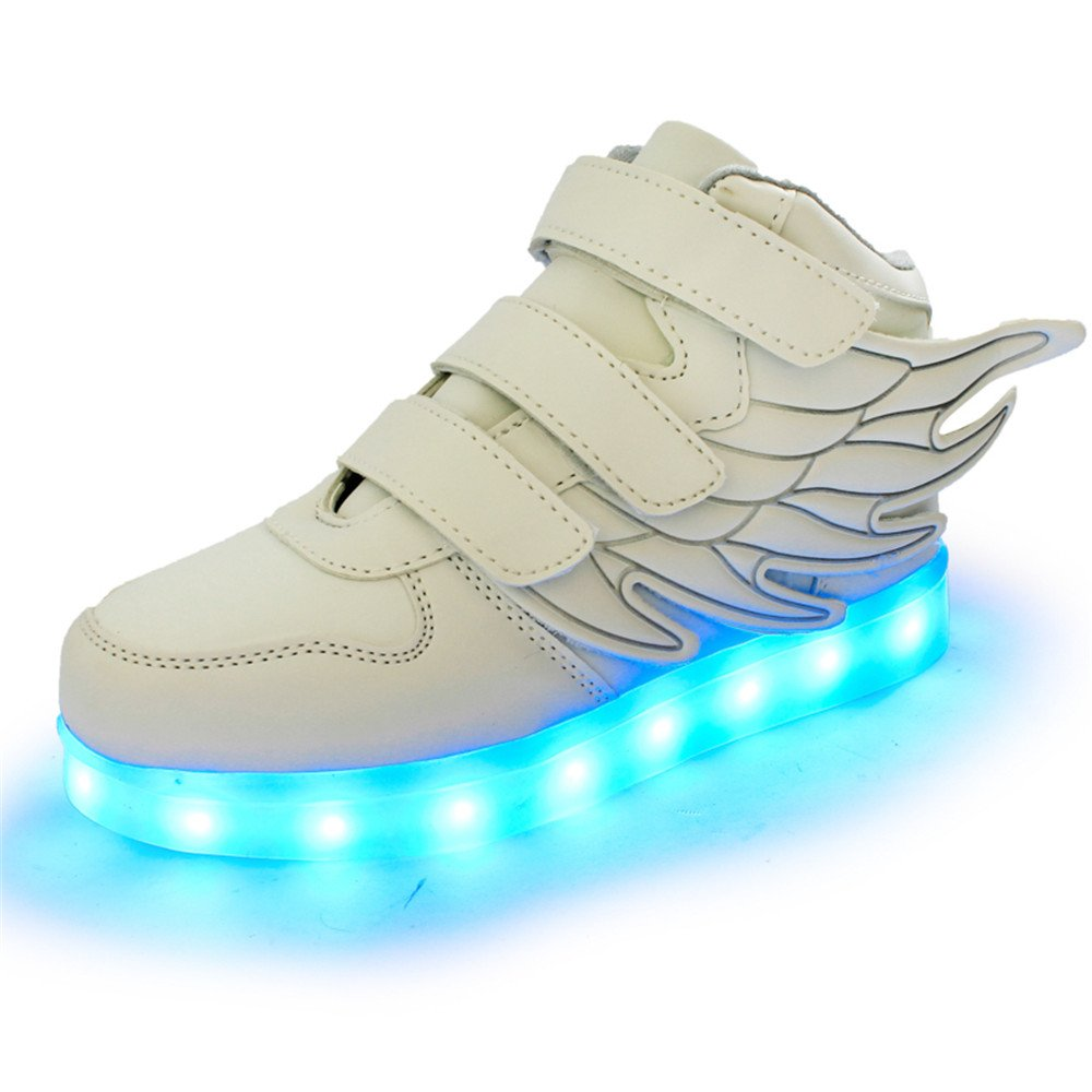 HarlanLi Have Wings Kids LED Lights Up Sneakers Boys Girls Shoes-Kids Best Gift White