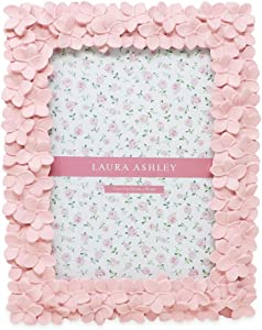 Laura Ashley 5x7 Pink Flower Textured Hand-Crafted Resin Picture Frame with Easel & Hook for Tabletop & Wall Display, Decorative Floral Design Home Décor, Photo Gallery, Art, More (5x7, Pink)