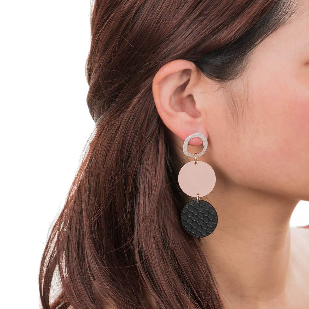 Lx10tqy Fashion Women Earrings Round Multilayer Faux Leather Dangle Pendant Ear Stud Black