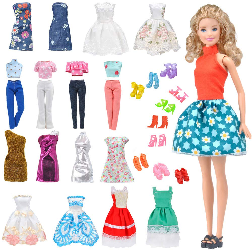 E-TING Lot 15 items = 5 Sets Fashion Casual Wear Clothes/outfit with 10 Pair Shoes for Barbie Doll Random Style