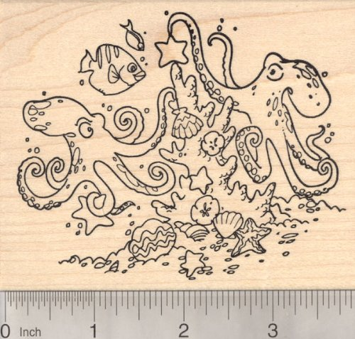 Christmas Under the Sea Rubber Stamp featuring Octopus couple, Coral Reef, Starfish, Clams, and fish