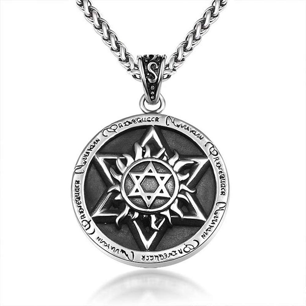 MLYC Pendant Necklace Stainless Steel Vintage Embossed Hexagonal Star Flame Pattern for Men Rock Punk Style with 24 Inches Silver Chain