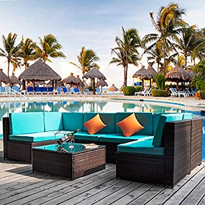 romatlink 7 Pieces Outdoor Rattan Patio Furniture Set, Modern Wicker Conversation Sectional Sofa Chairs with Cushioned Couch & Glass Top Coffee Table, Perfect for Garden Lawn Poolside Backyard - [Multiple layouts available for you]: The 7 pcs Rattan wicker sectional comes with 2 corner sofas, 4 Middle sofas, and 1 Coffee Table; cushions and throw pillows are also included to complete this set. Choose from a variety of different layouts and combinations to find your optimal configuration. [Modern & comfortable]: modern design outdoor sectional sofa with high-quality thickened Seat and back cushions take you more extraordinary comfort, Enjoy your leisure time whatever sitting or lying, suitable for entertaining your neighbors or friends. [Easy cleaning]: fade resistant cushions for easy to rinse. Simply zip off the machine washable cushion covers and give them a quick wash to have them looking brand new. - patio-furniture, patio, conversation-sets - 61 MP4TY0aL. SS400  -
