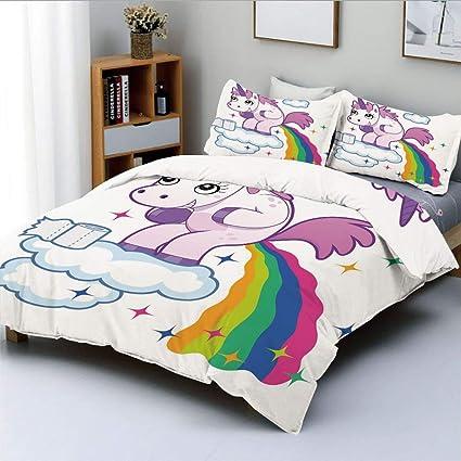 Unicorn Fairytale Girls Kids Single Duvet Quilt Cover Children Bedding Set