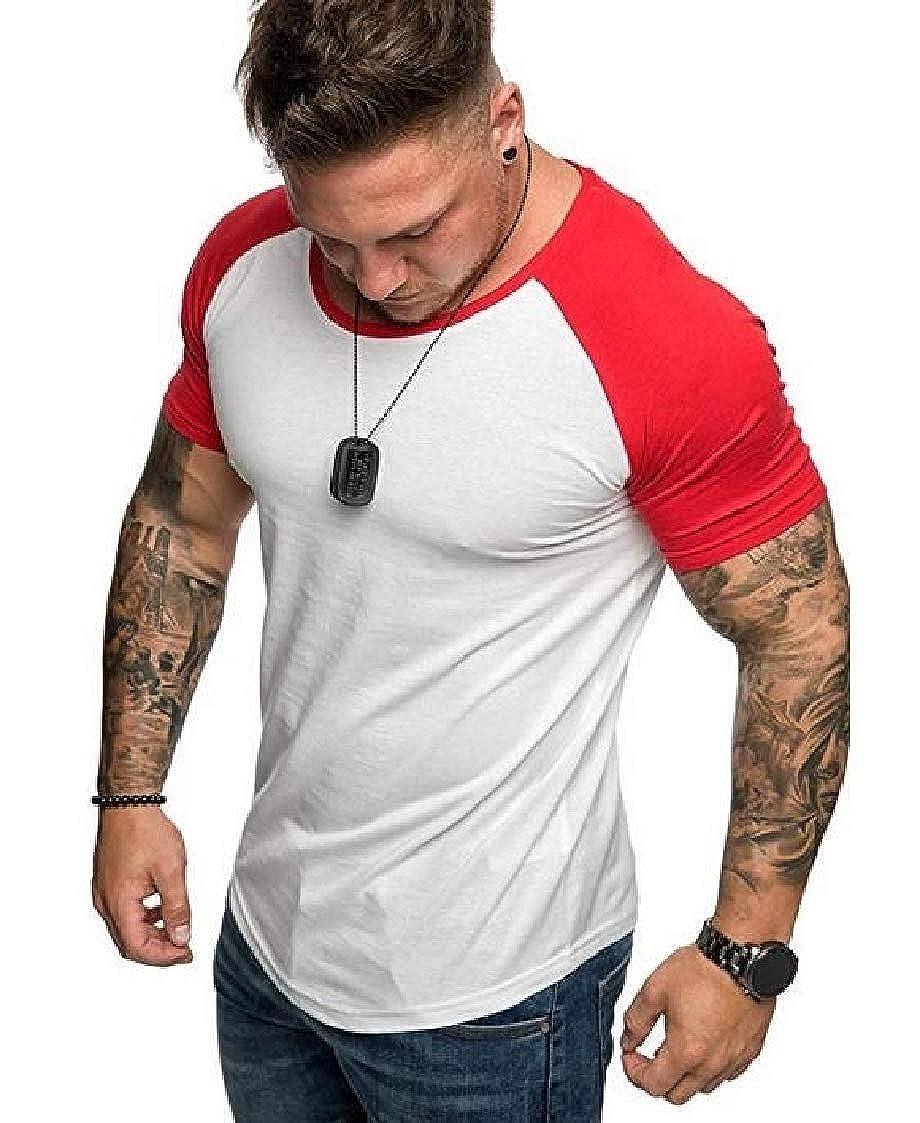 Nanquan Men Slim Crew Neck Patchwork Casual Short Sleeve Tee T-Shirts