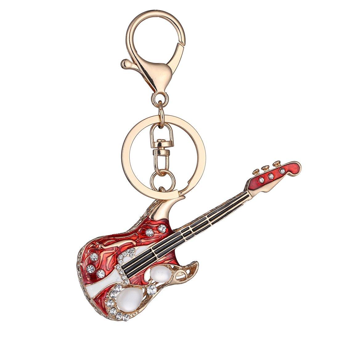 JJTZX Acoustic Guitar Keychain/Keyring Rock Star Keychain Perfect Music Teacher Gift