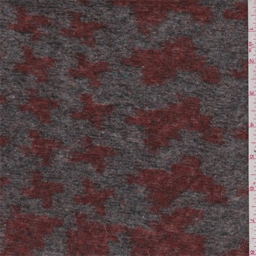 Grey/Brick Houndstooth Boiled Wool Knit, Fabric by The Yard -