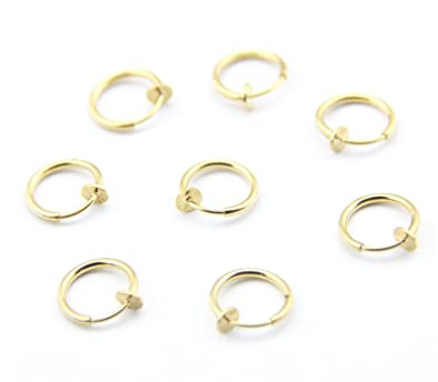 316L Surgical Steel 8 Gold Color Clip Fake Body Piercing Ear