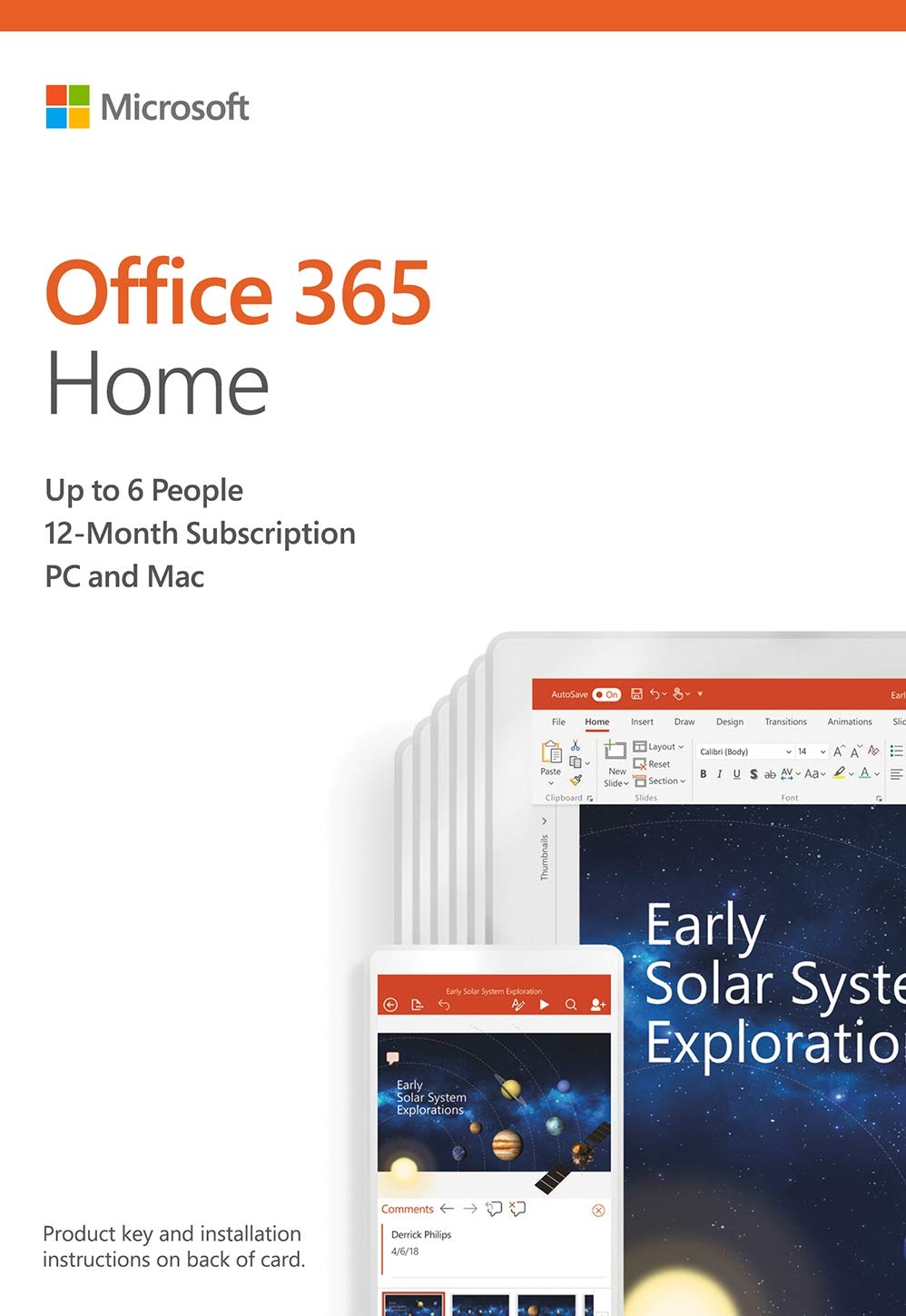 Microsoft Office 365 Home 12 Month Subscription up to 6 People PC and Mac Key Card by Microsoft