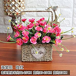 XHOPOS HOME Artificial flowers European style flowers rose living room home plastic flowers plants red Begonia Flower Basket Wedding Decorations Bridal Accessories Fake Flowers AT-193 53