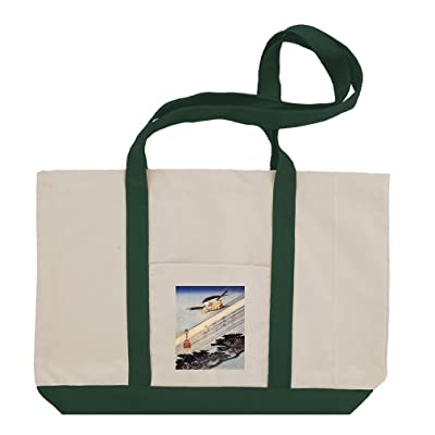 A Cuckoo Flying Past Masts (Hiroshige) Cotton Canvas Boat Tote Bag Tote