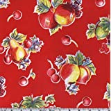 Oil Cloth Pears & Apples Red Fabric By The Yard by OilCloth International
