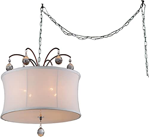 Warehouse of Tiffany RL4822 Felicity 5-Light White Fabric 18-inch Bronze Swag Lamp Pendant