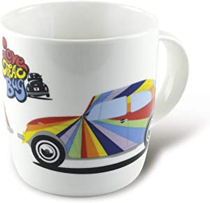 BRISA VW Collection - Volkswagen Beetle Car Bug Coffee Mug, Tea Cup for Kitchen, Garage, Office - Camping-Equipment/Gift-Idea/Souvenir (Design: VW Beetle/White/Stripes)