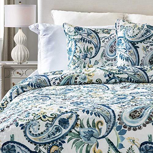 14 Karat Home Watercolor Paisley 3-Piece Quilt Set-Queen-Blue