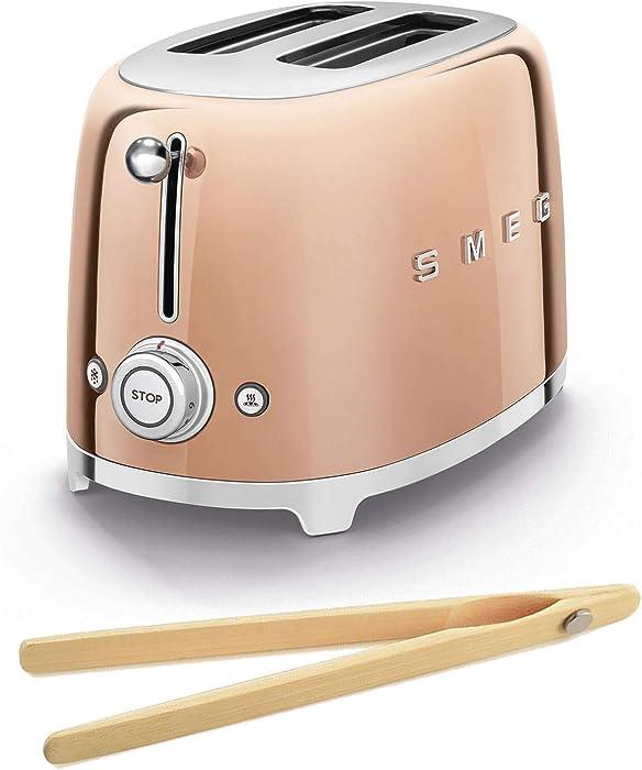 Smeg TSF01RGUS 50's Retro Style Toaster Bundle with Norpro Bamboo Tongs - (Rose Gold) 2 Slice