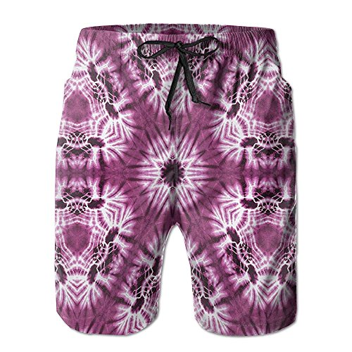 Richard Lyons Indonesian Oriental Trippy Motive With Morphing Spotted Murky Shapes Men's Quick Dry Beach Shorts Casual Comfortable Surf Shorts XXL