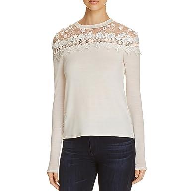 Elie Tahari Womens Leena Merino Wool Lace Pullover Sweater White XS at  Amazon Women s Clothing store  2787674811