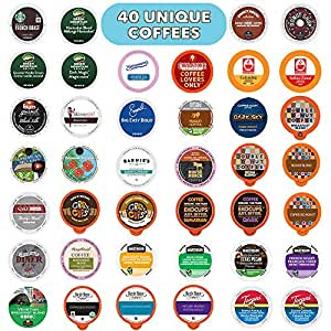 Coffee Pods Variety Pack Sampler, Assorted Single Serve Coffee for Keurig K Cups Coffee Makers, 40 Unique Cups - No Duplicates, Great Coffee Gift