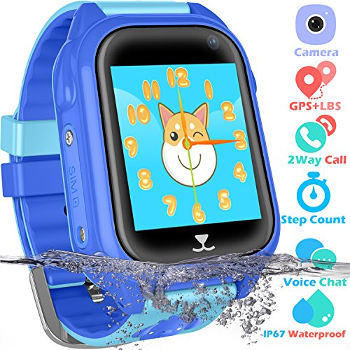 Kids Waterproof Smart Watch for Girls Boys - IP67 Waterproof Children Smartwatch Phone with SIM Slot GPS/LBS Tracker SOS Camera Anti-lost for Summer Outdoor Sports Watch (02 S8 Blue GPS+Waterproof) by PalmTalkHome