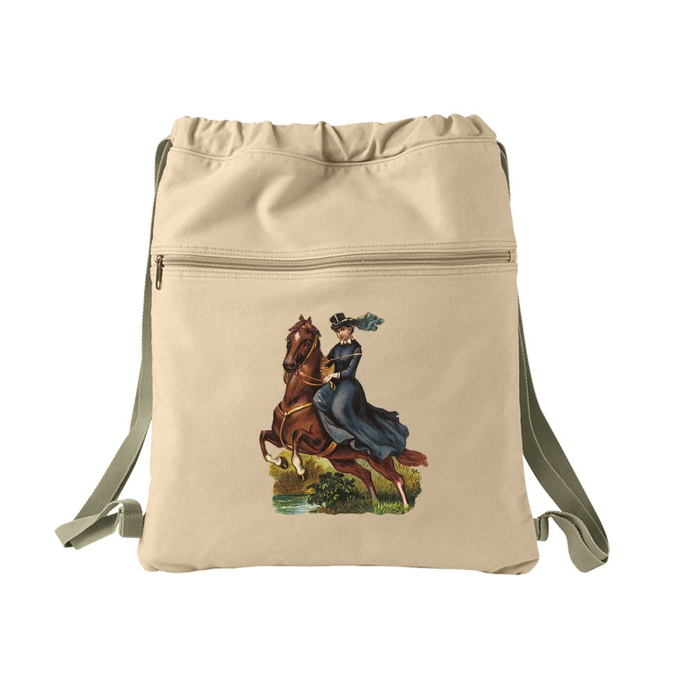 Lady Rides Her Horse Pets Animals Canvas Dyed Sack Backpack Bag