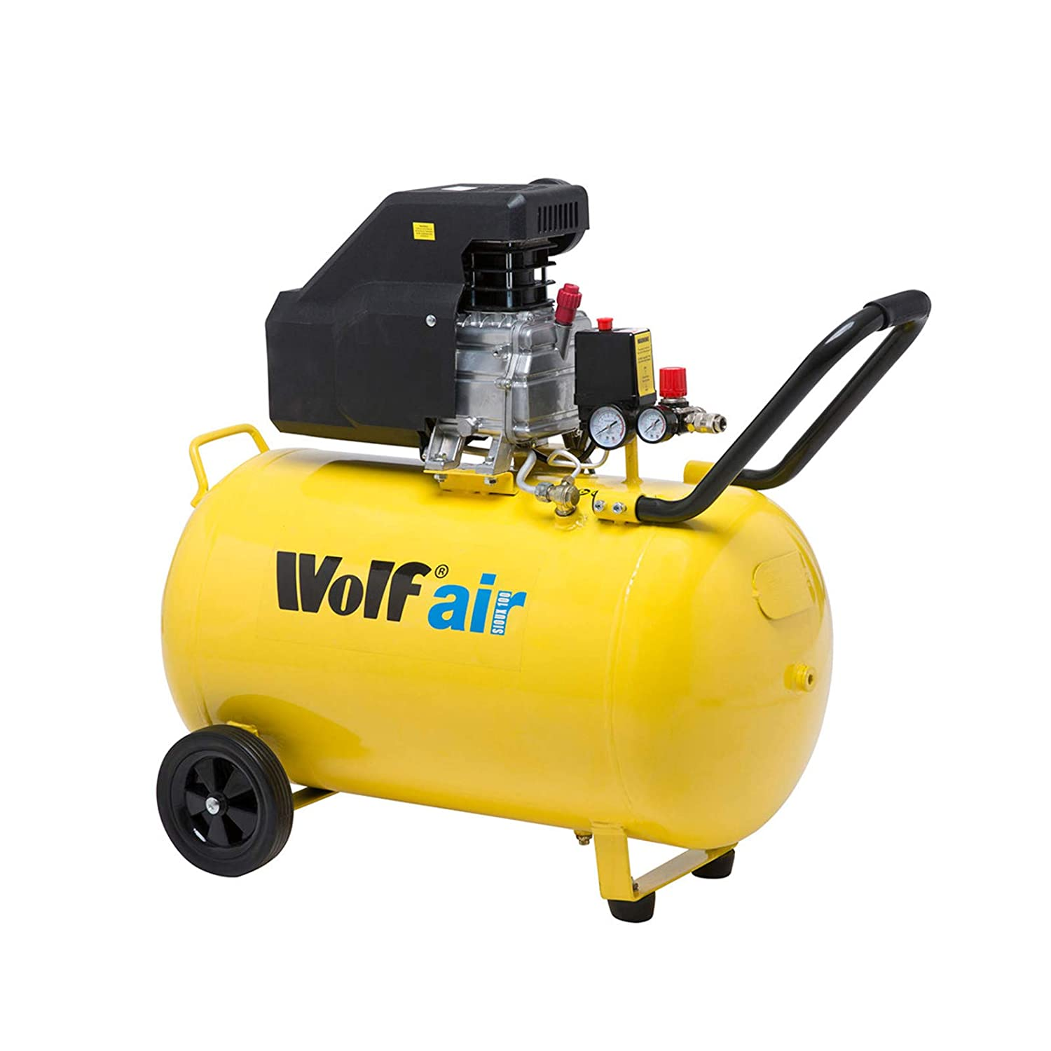Wolf Portable 100 Litre Air Compressor 116psi 9.6CFM 2.5HP 230v 8BAR - 2 Years Warranty