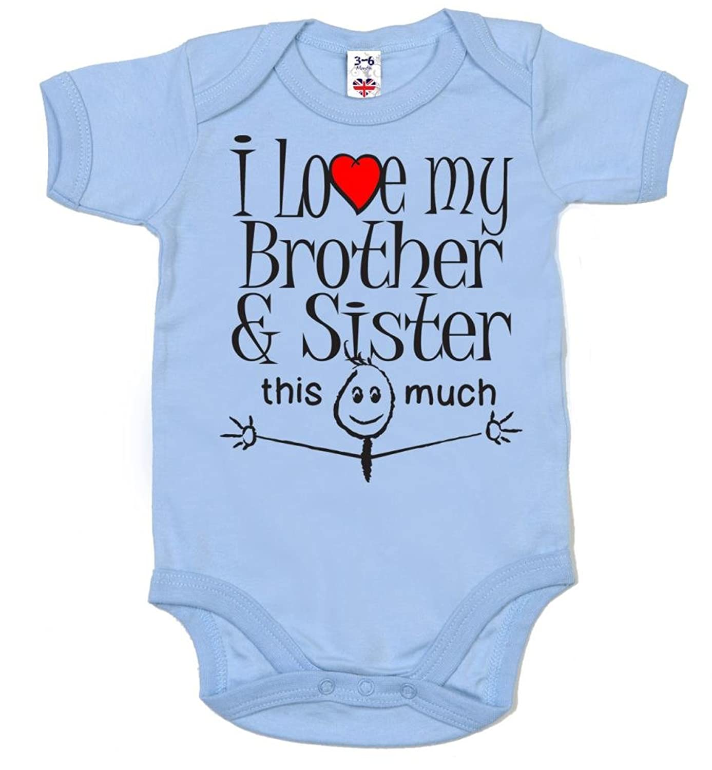 IiE I love my Brother & Sister this much Baby Uni Bodysuit