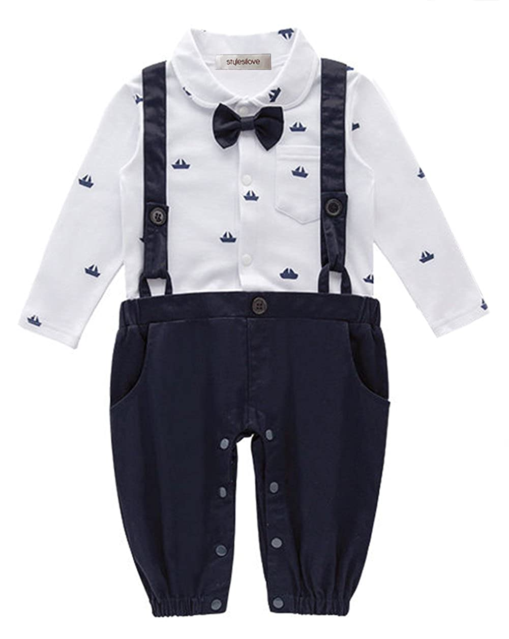 fc8f7d1e6 stylesilove Sailor Boat Print Faux Suspender Formal Wear Baby Boy Romper  (80/6-12 Months, Navy Blue)