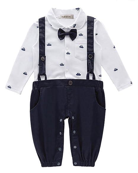 674bc1ba9 Amazon.com  stylesilove Sailor Boat Print Faux Suspender Formal Wear ...