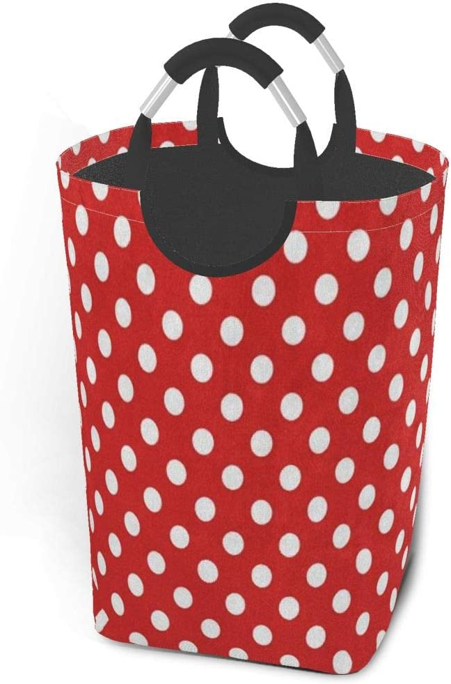 EJudge Laundry Basket White Red Polka Dot Large Collapsible Dirty Laundry Hamper Bag Tall Fabric Storage Baskets Rectangle Fold Washing Bin Hand Clothes Organizer for Kids,Dorm 50L