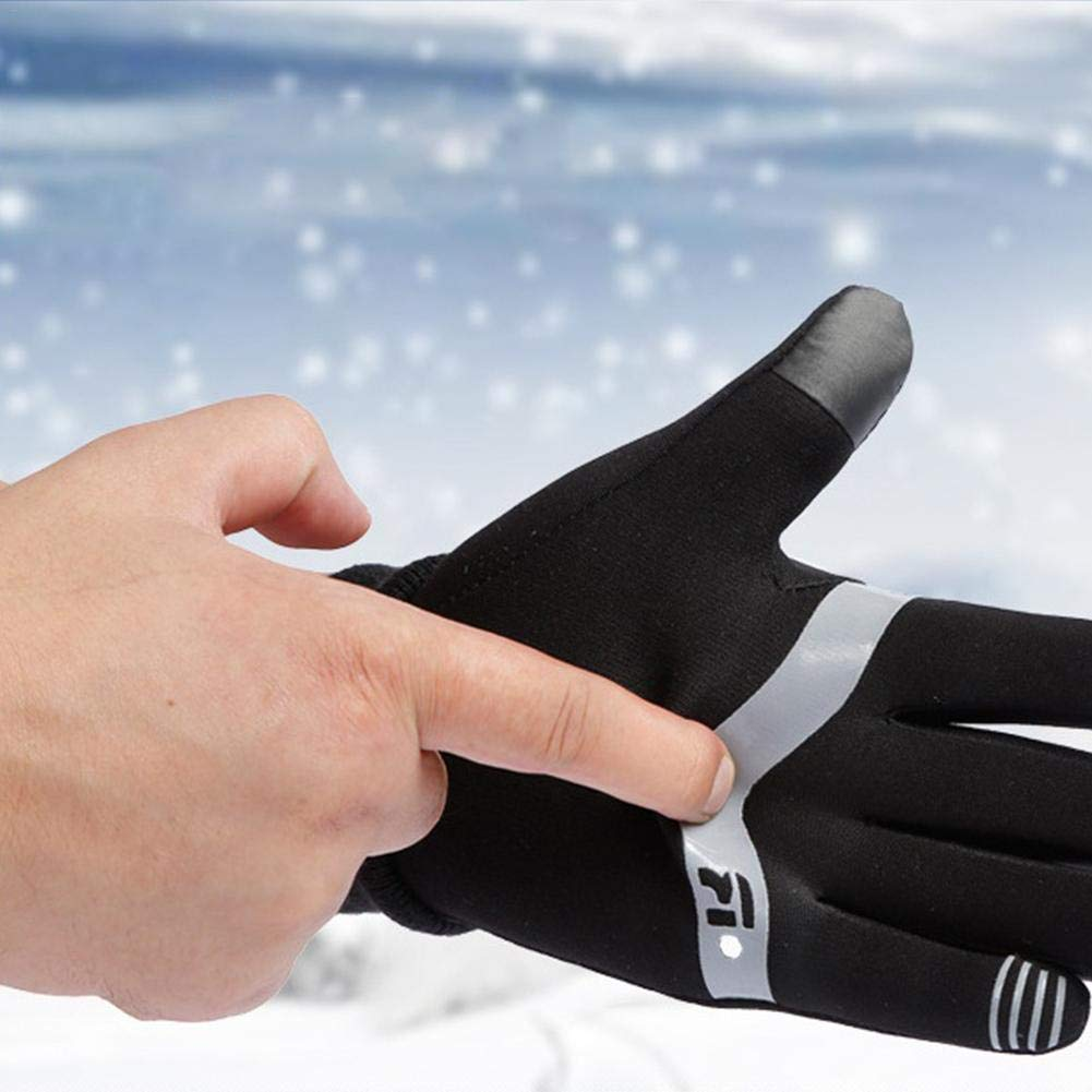 Heitaisi Unisex Warm Windproof Waterproof Gloves Touch Screen Non-Slip Gloves for Outdoor Sports Running Cycling Hiking Riding