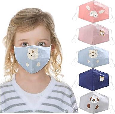 Children Cotton Face Macks Washable Reusable Cute Cartoon Face Bandanas with Printing Facewear for Kids Boy Girl