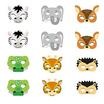 ED-Lumos Máscaras para niños Forma Animal Material Papel para Las Fiestas Infantiles 12 Piezas Cocodrillo Cebra Jirafa Elefante Erizo Ciervo: Amazon.es: ...