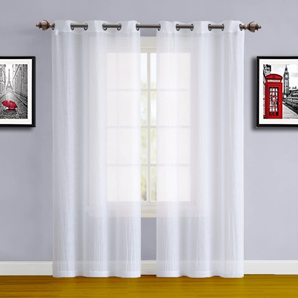 "WARM HOME DESIGNS Pair of Small Size, Standard Length 38"" x 84"" White Sheer (See-Through) Crushed Window Curtains. Sheer Drapes Allow Light in, While Providing Some Privacy. SA White 84"