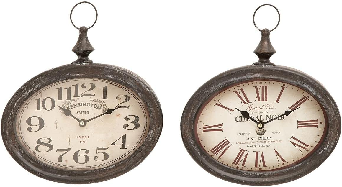 Deco 79 Stylish and Durable Assorted Chinese Metal Wall Clock, Set of 2